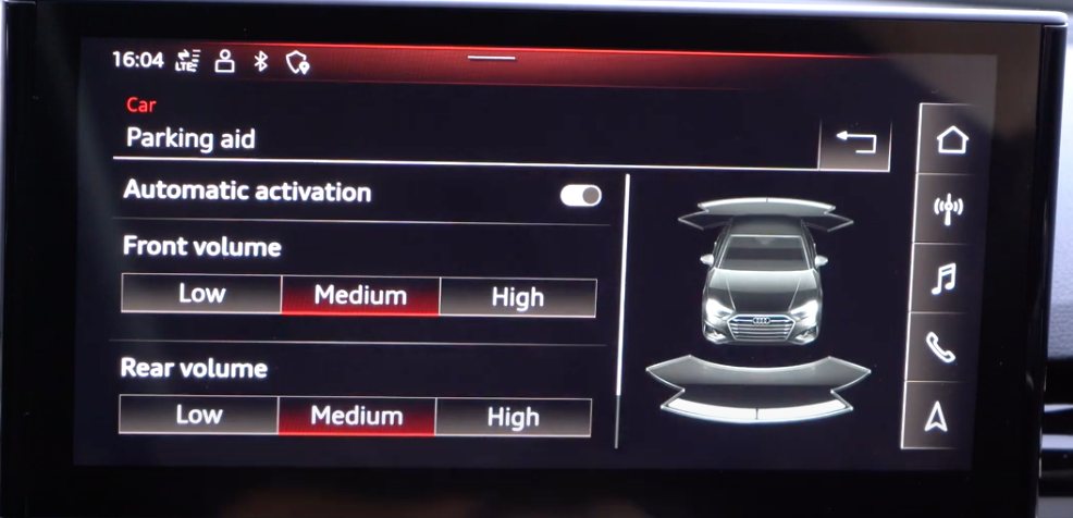 A list of parking aid settings with a 3D model of a vehicle on the right side