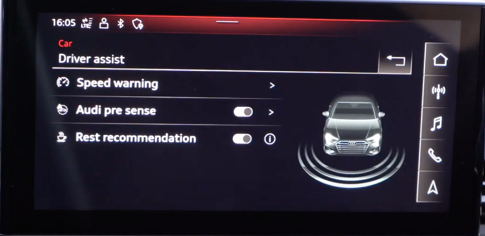 Driving assistance settings such as speed limit with a 3D vehicle model on the side