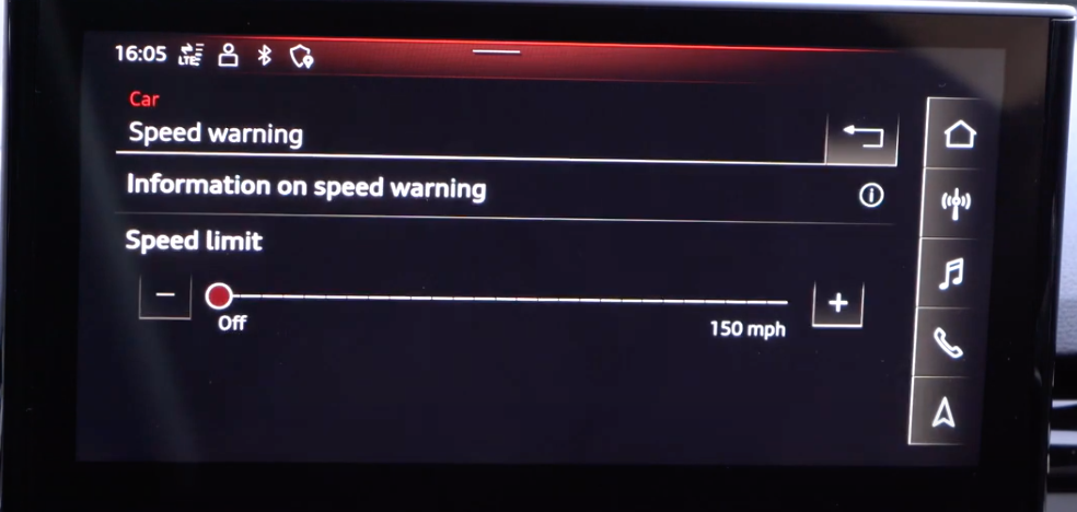 Speed warning settings and adjusting the limit through a slider