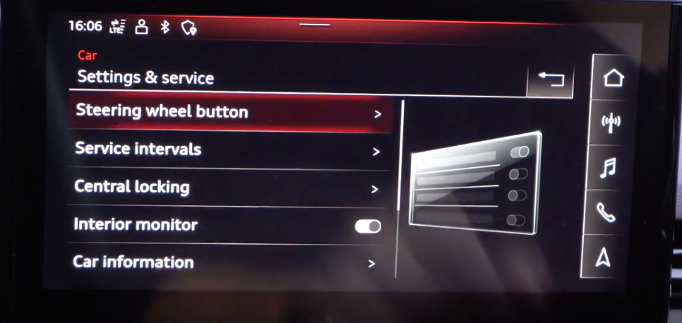 General list of settings for the vehicle