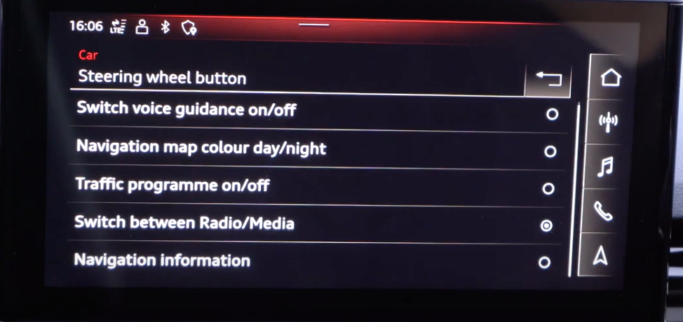 A list of steering wheel settings such as setting up the steering wheel buttons as shortcuts