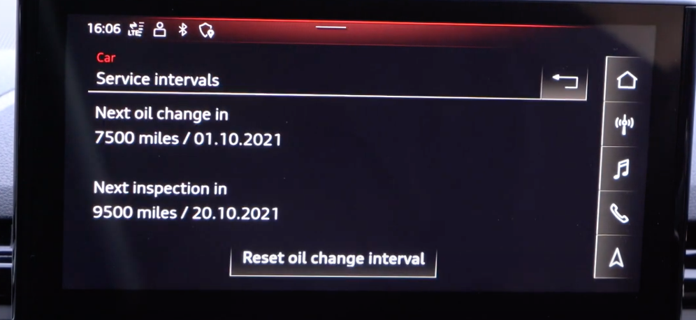 Information about oil change option to reset oil change interval