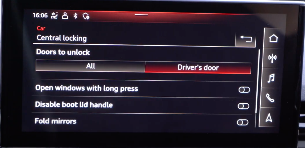 A list of doors and locking settings