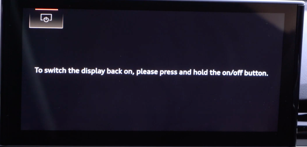 Display turned off with a written instruction on how to turn it on again