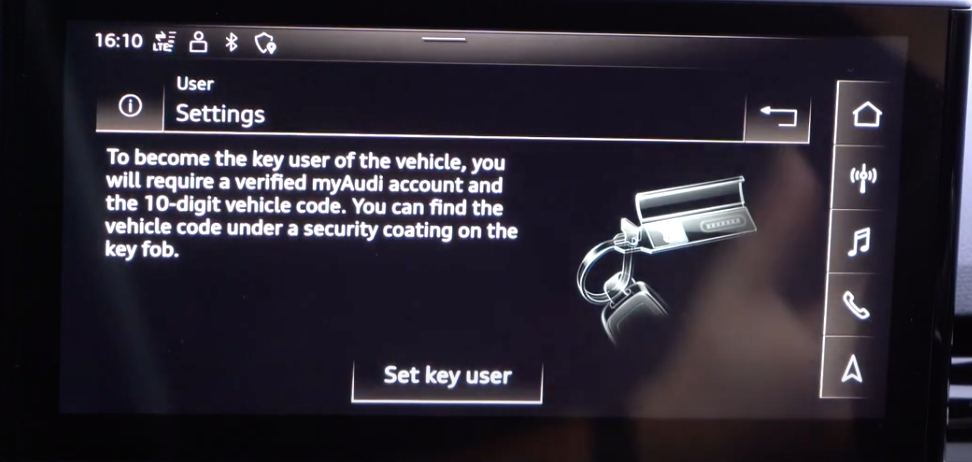 The option to set up a key for a user with an illustration of car keys