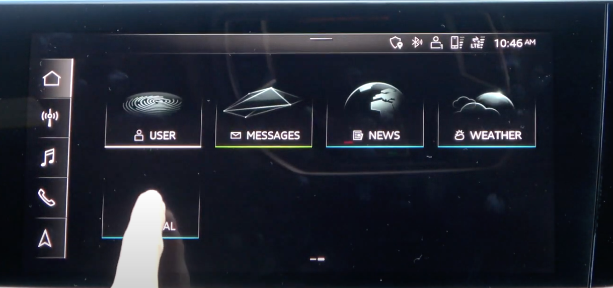 Gallery view of various applications that are on the infotainment system with corresponding icons