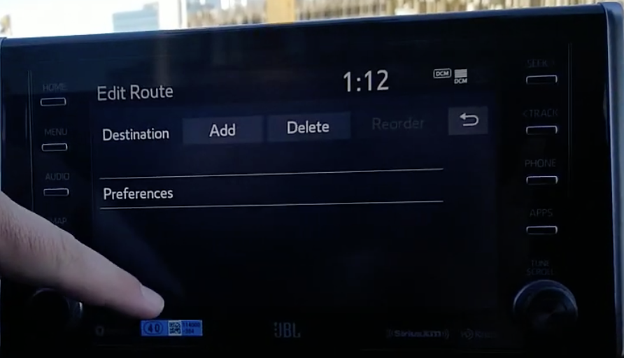 Option to add or delete a destination within the navigation system