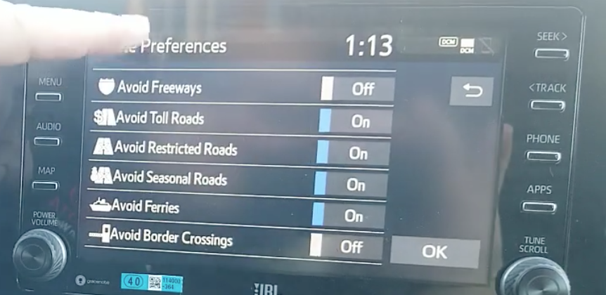 Turning and off road preferences features such as avoid freeways, toll roads etc