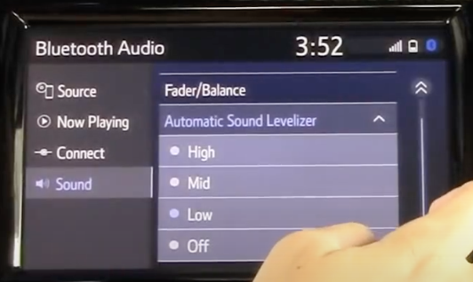 Adjusting the audio settings such as the fader and balance