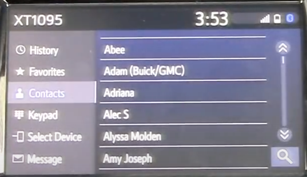 List of phone contacts displayed on the infotainment system