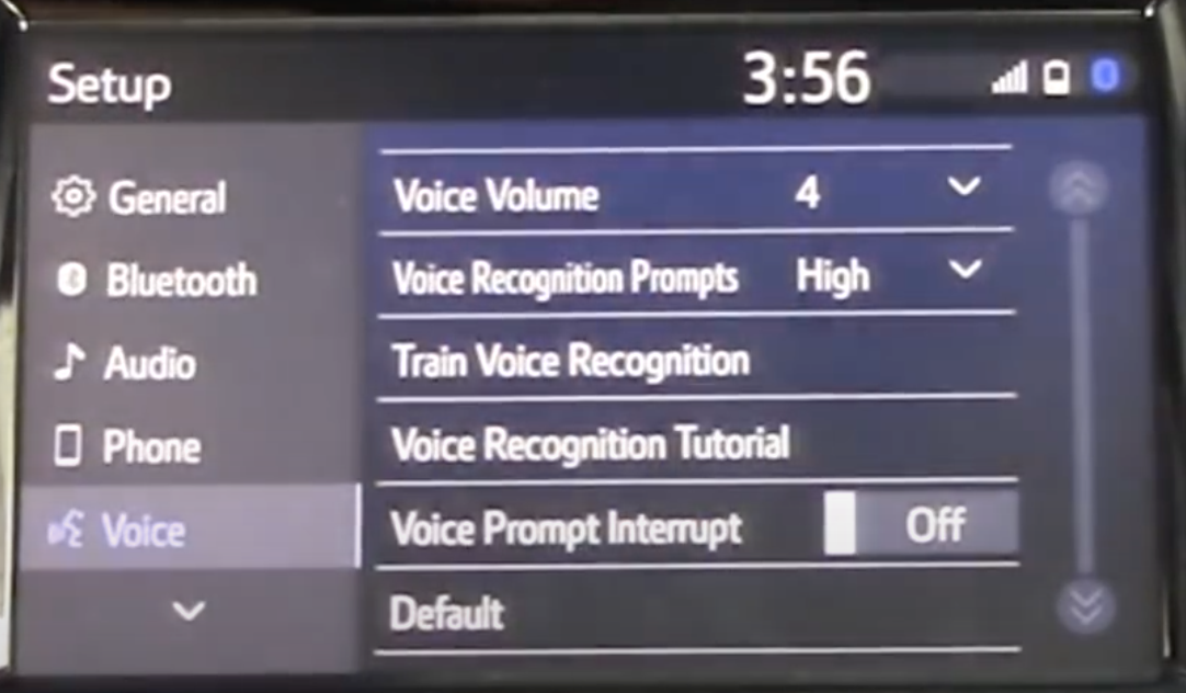 List of voice assistant settings such as volume, voice prompts etc