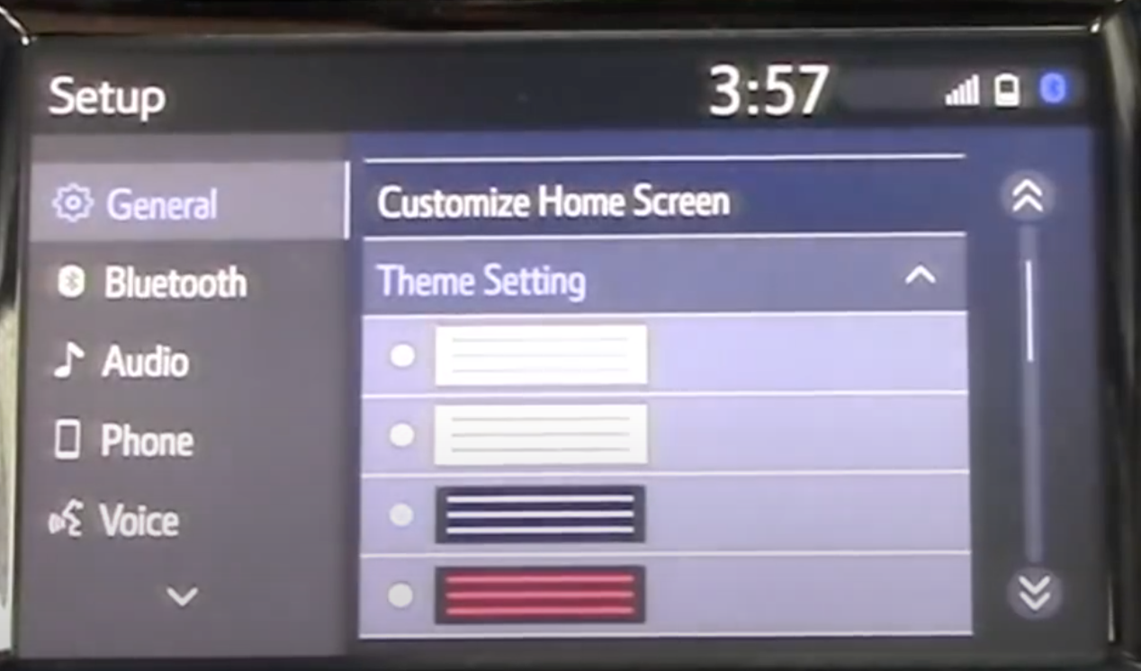 List of themes to choose from for the infotainment display