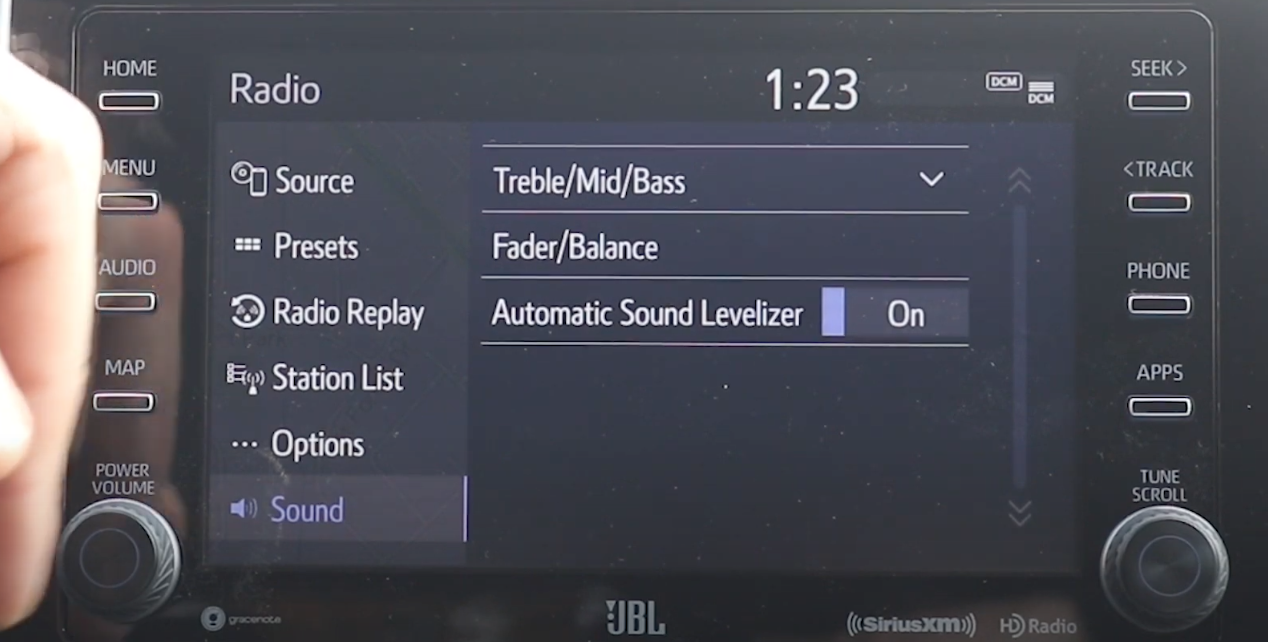 A list of media sound setting such as trebled, mid and bass