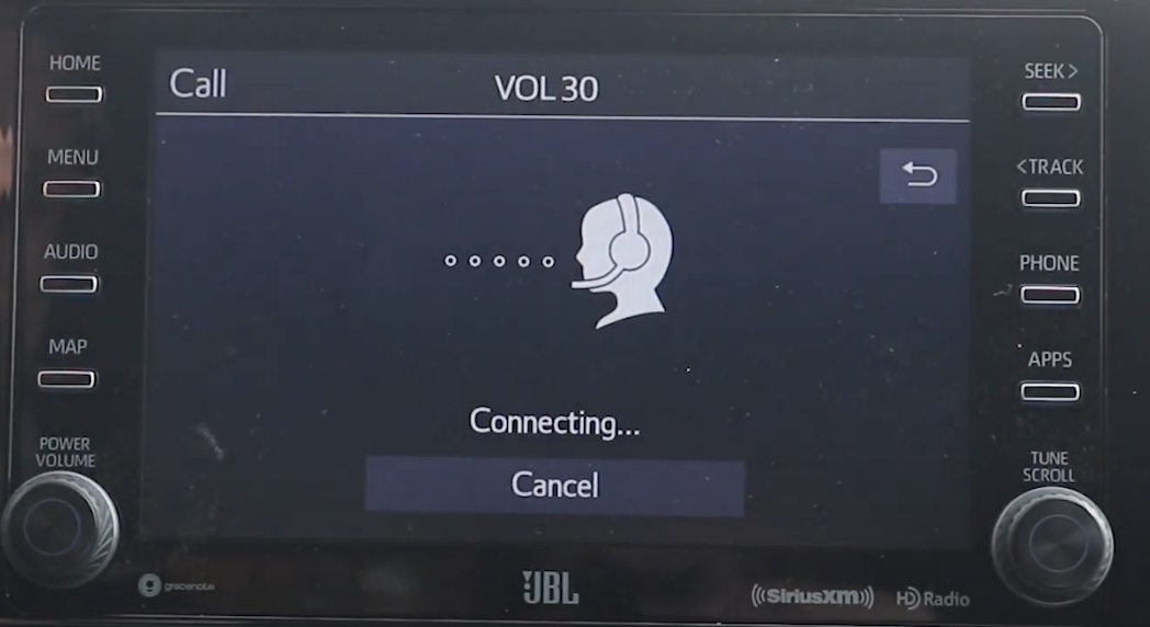 Calling assistance with an icon of a person with a headset