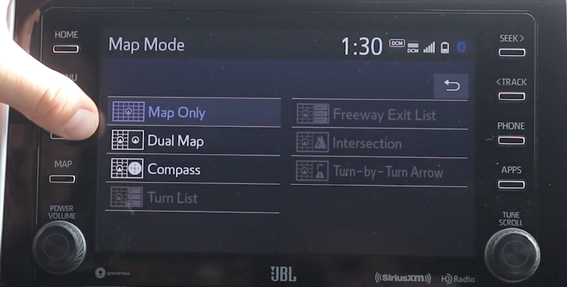 Settings for the map mode with a list of options to choose from with small map layout icons on the side