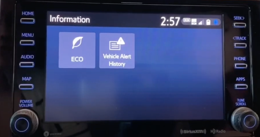 Two vehicle information features displayed as a gallery with corresponding icons