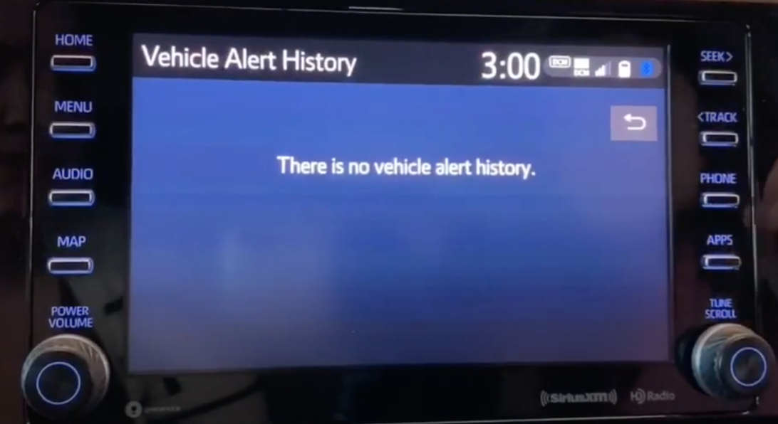 Vehicle alert history page with currently no alerts showing