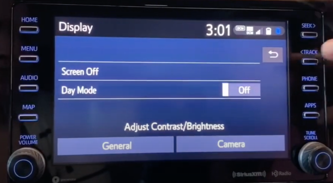 Display screen such as turning on and off the display and day mode and adjusting the contrast and brightness settings