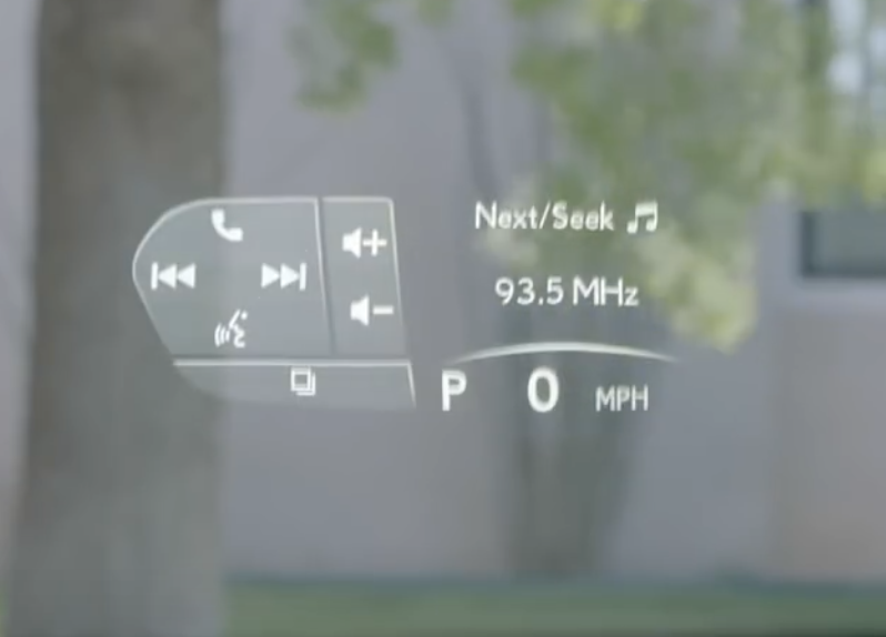 How the heads up display interface looks on the windshield of the vehicle