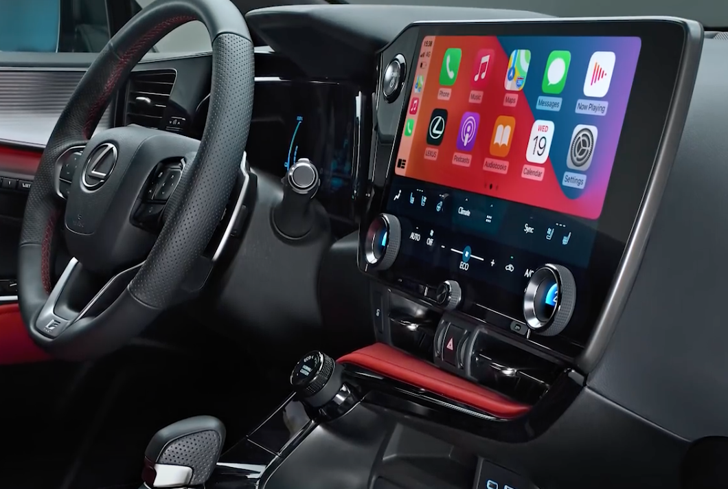 Photograph of the infotainment system showing all the touch surfaces