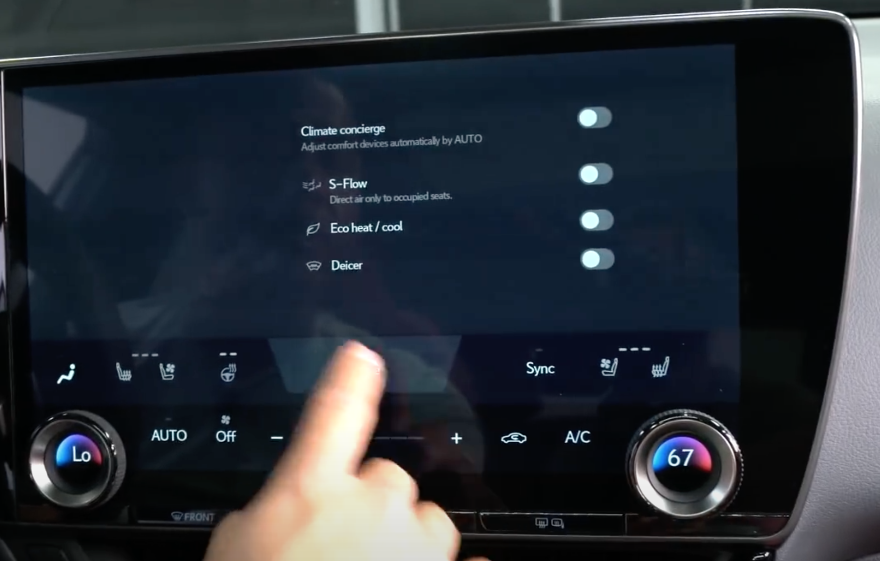 Climate settings such as turning on and off de-icing through toggles