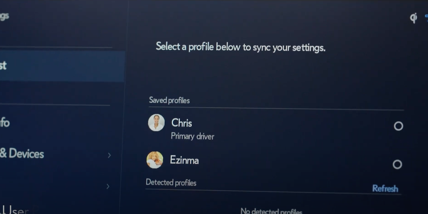 Option to select from two existing profiles to sync saved settings
