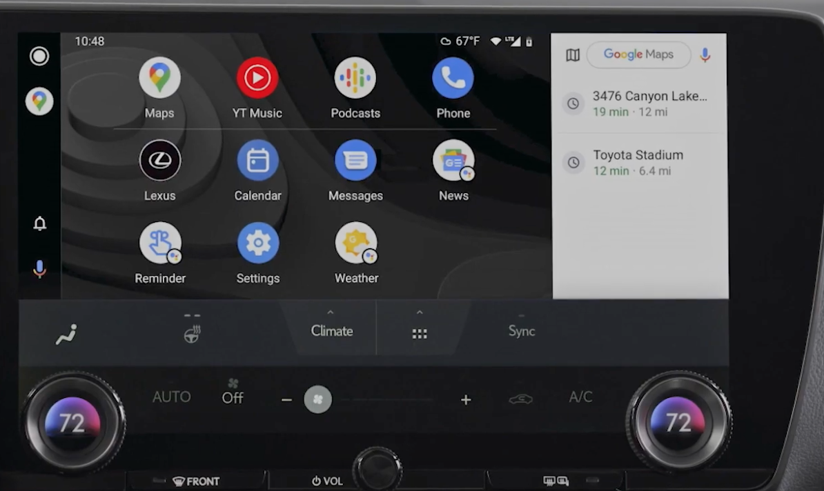 How the Android Auto interface looks on the infotainment system