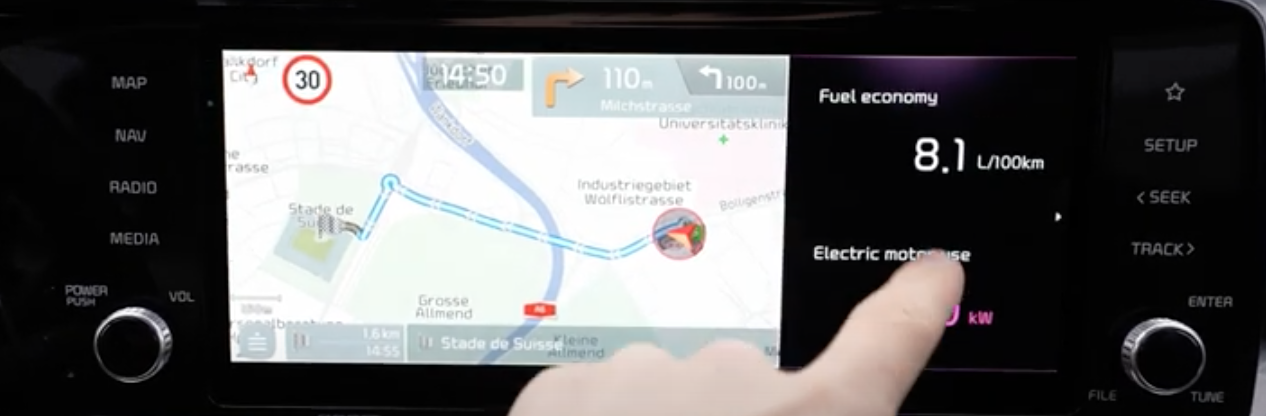 Pop-up with fuel information next to the turn by turn navigation guidance
