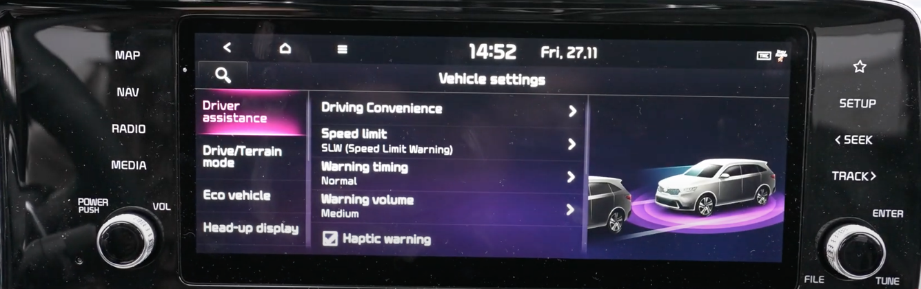 A list of vehicle settings with the option driver assistance chosen and an illustration of a 3D model of a car