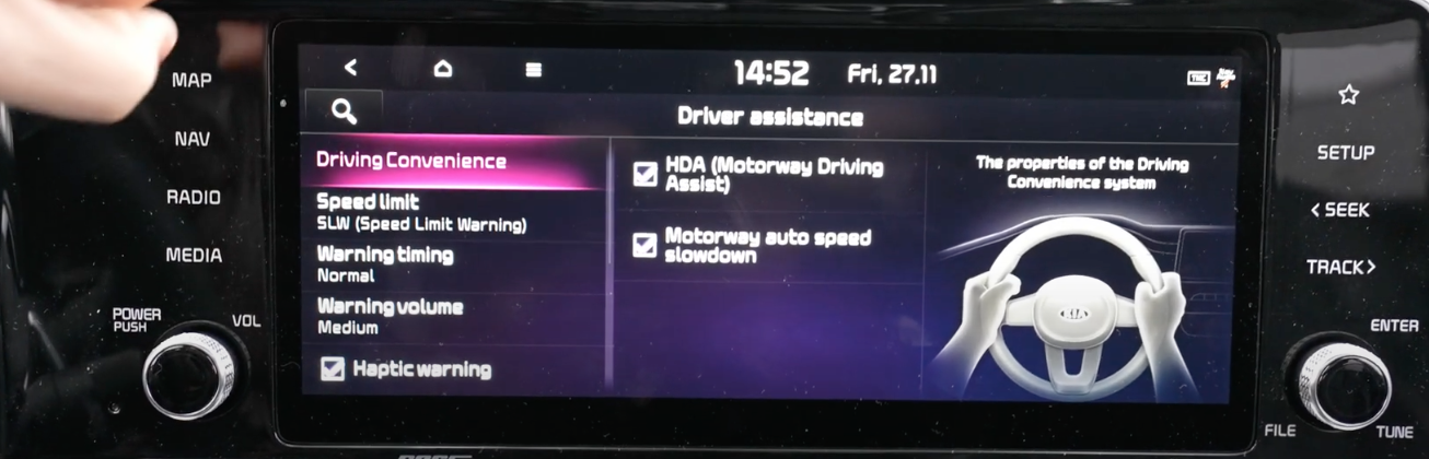 List of driver assistance settings listed with the option driving convenience selected and an illustration of a steering wheel
