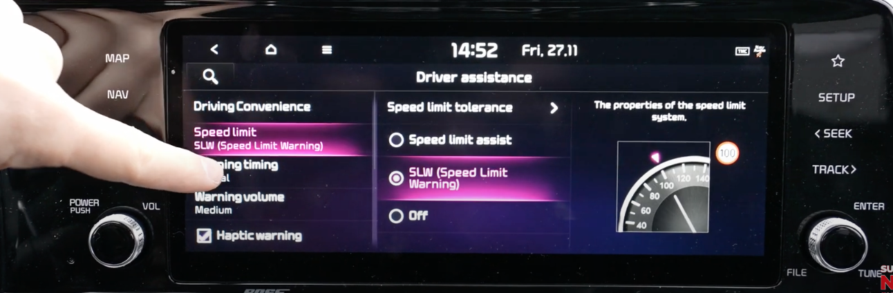 List of driver assistance settings with the option speed limit selected and an illustration of the speed meter