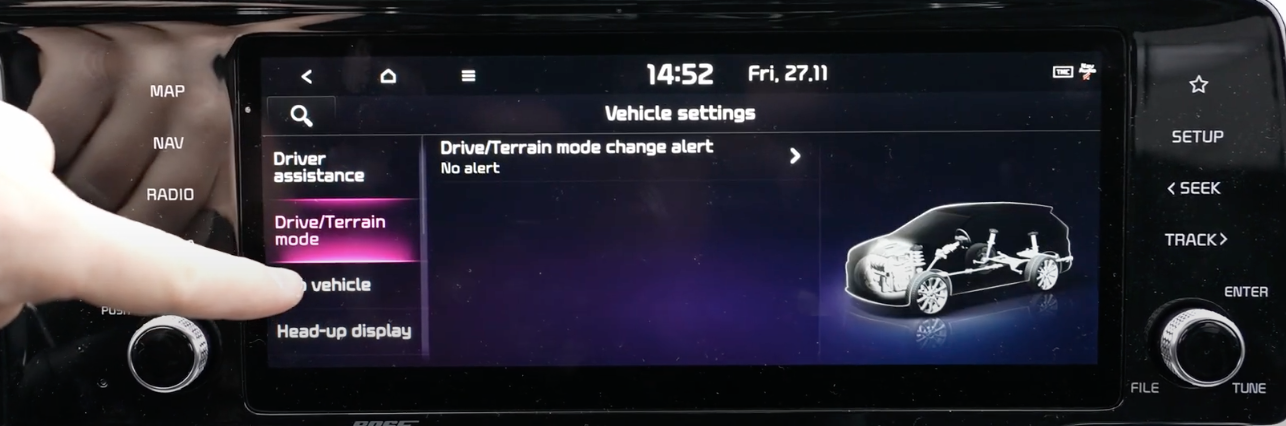 List of vehicle settings with the option drive mode selected and an illustration of a car that is see through with different parts highlighted