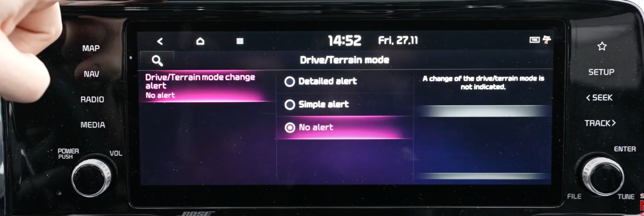 Drive mode settings with the options to change the alert system