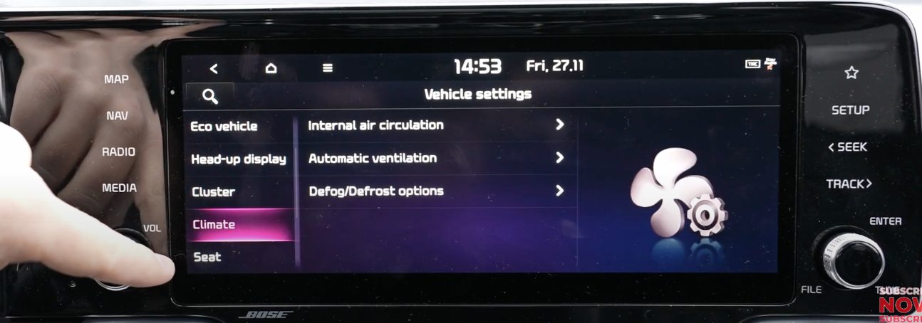 List of vehicle settings with climate option selected with a list of climate settings and an illustration of a fan
