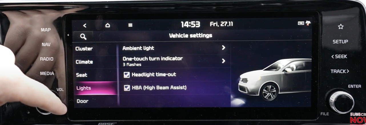 Lights option selected from a list of vehicle settings with light settings and a 3D model of a vehicle with high-beams on