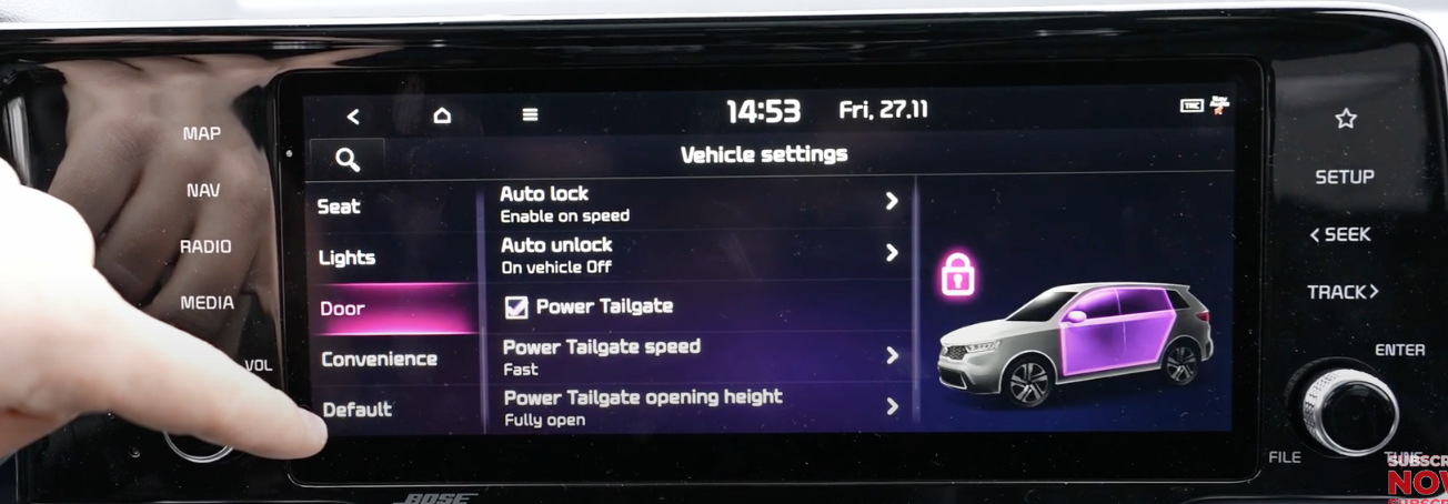 List of door and lock settings with a 3D model of a car with the door highlighted alongside a lock icon