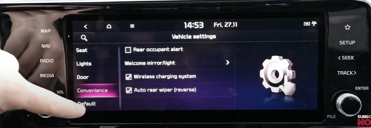 List of random vehicle settings such as rear occupant alert, wireless charging system and reverse wipers
