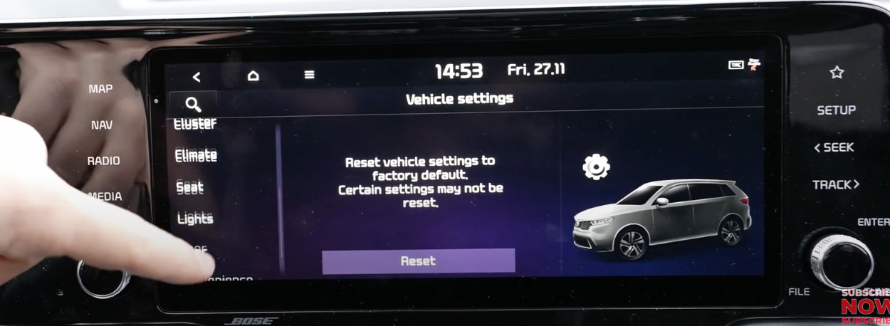 Option to reset all the vehicle settings with a 3D model of a car