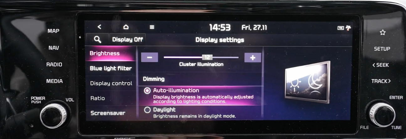 List of display settings with brightness option selected and a slider to adjust with an illustration of a screen
