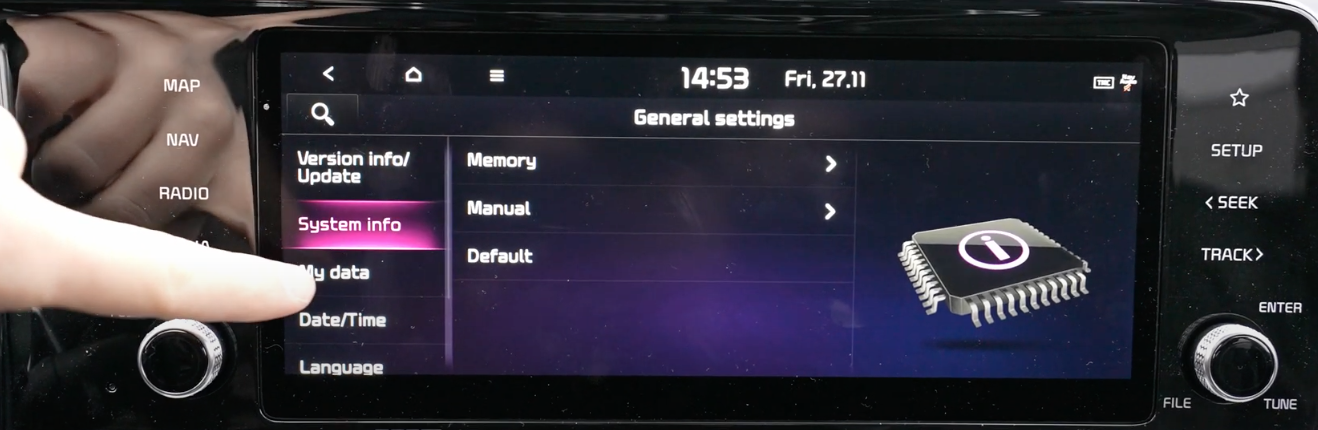 System information list with three options to see; memory, manual and default