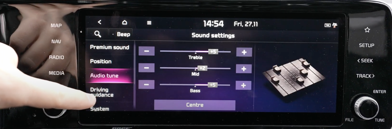 Adjusting the treble, mid and bass settings through sliders