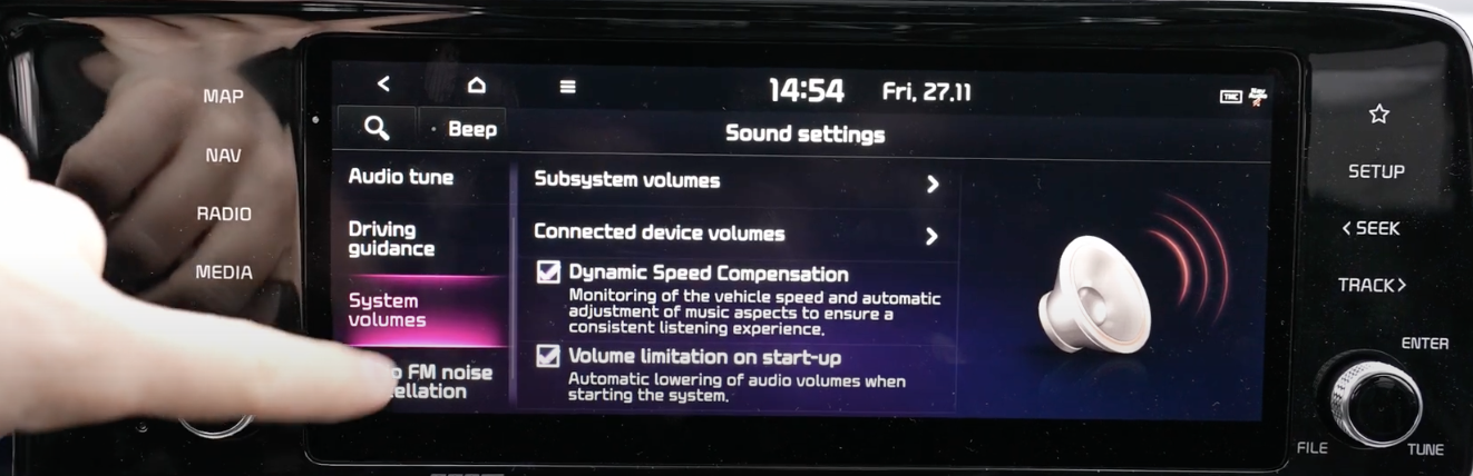List of media sounds settings that could be turned on and off through ticking boxes