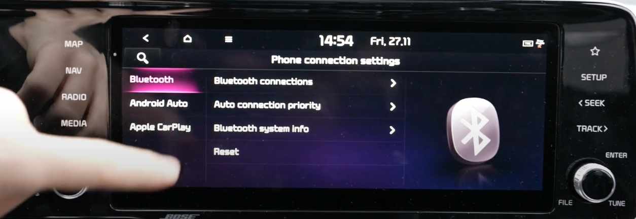 List of Bluetooth settings with an Bluetooth icon on the side