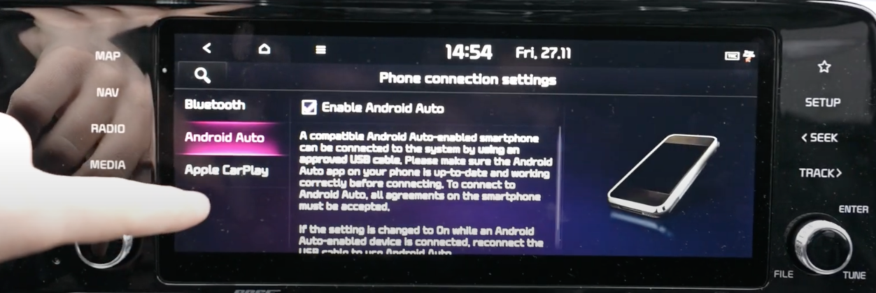 Screen with a tiny box to tick to enable Android Auto with written text related to it