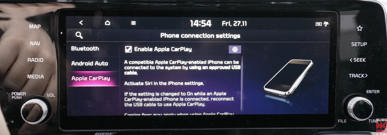 Screen with a tiny box to tick to enable Apple Carplay and written text related to it