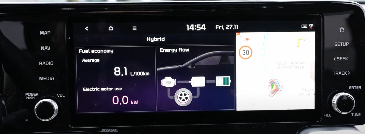 Information about fuel economy and the energy flow of the vehicle