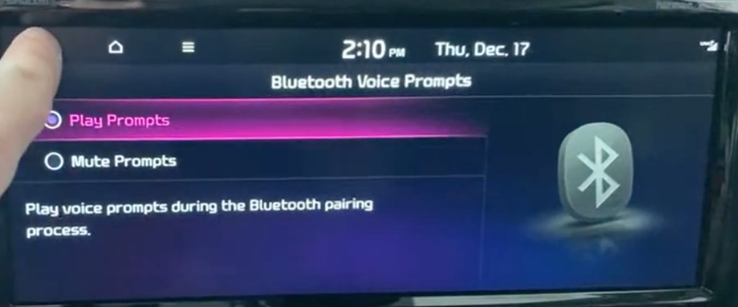 Selecting if a user wants to enable voice prompts during the Bluetooth pairing process