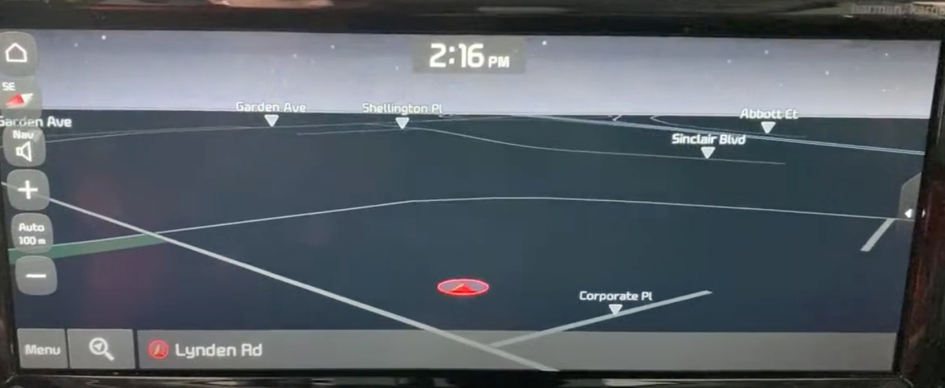 Map view with a red arrow indicating where a user is currently located