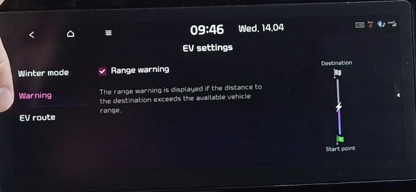 Turning on and off range warning within electric vehicle settings