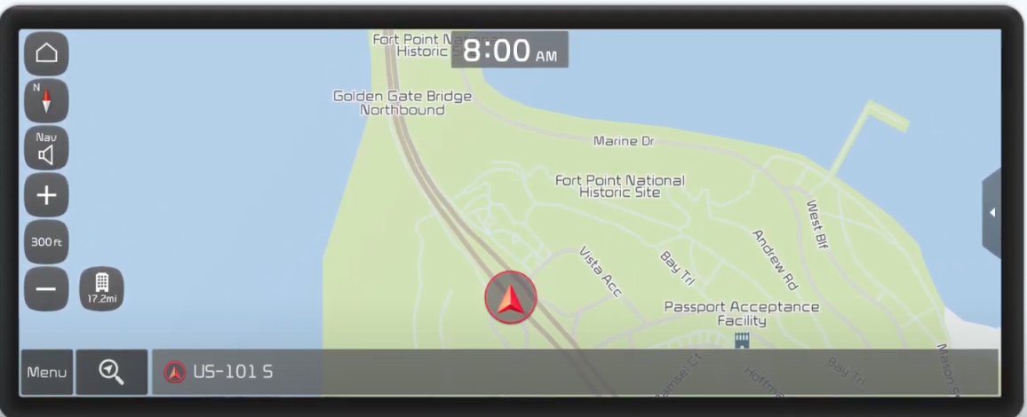 Map view with an arrow indicating where a user is currently located